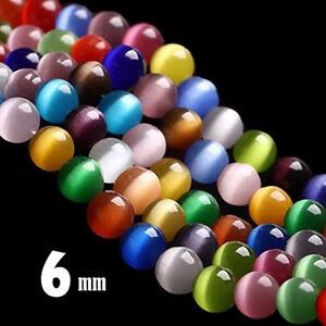 Katzenauge-Perlen-6mm-Rund-Glasperlen-Bunte-Strang-65stk-fuer-Schmuck-Cat-Eye-D87