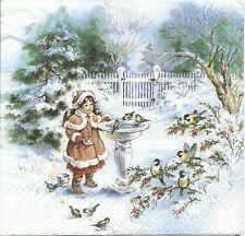 3 Servietten Napkins Winter Weihnachten Winterlandschaft mit Kind #265/1