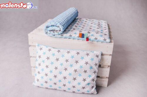 Zweilagige Decke  Babydecke plus Kopfkissen  Baumwolle  50 x 75 cm  MINKY