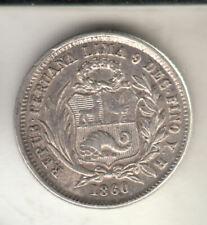 PERU SILVER 1 REAL 1860 SHFIELD EF+ SCARCE       167H     BY COINMOUNTAIN
