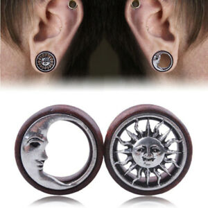 Pair-Sun-amp-Moon-Ear-Saddle-Tunnels-Flesh-Earring-Gauges-Piercing-Expander-Plugs