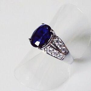 Handarbeit Cocktail Oval AAA Kashmir Saphir 925 Silber Ring Rhodium 18,1 mm 57