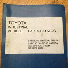 Toyota 6hbw30 6hbe30 6hbe40 6hbc30 6hbc40 6tb50 Pallet Walkie Parts Book Manual