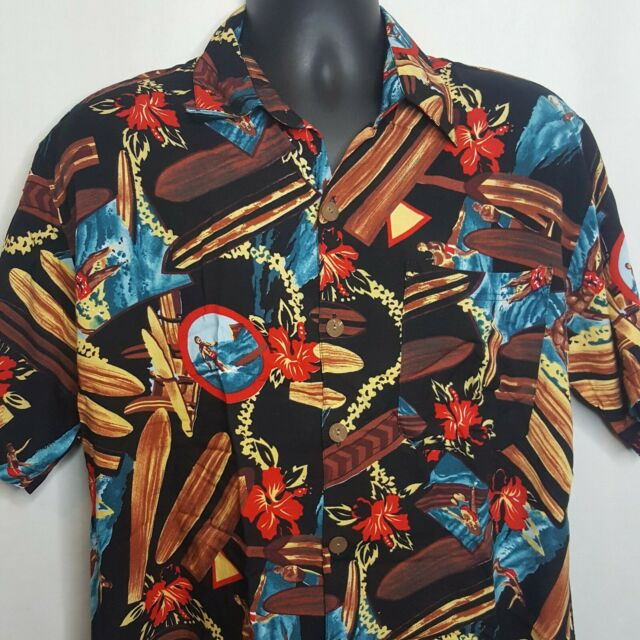 Bali Apparel Rayon Hawaiian Aloha Shirt Sz L Pocket Surfers Flowers Surfboards