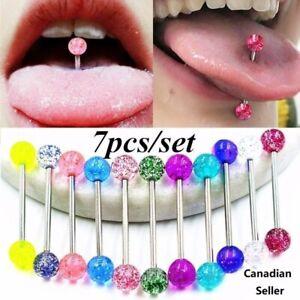 10pcs//set Tounge Ring Barbell Body Piercing jewelry punk gift fashion accessory