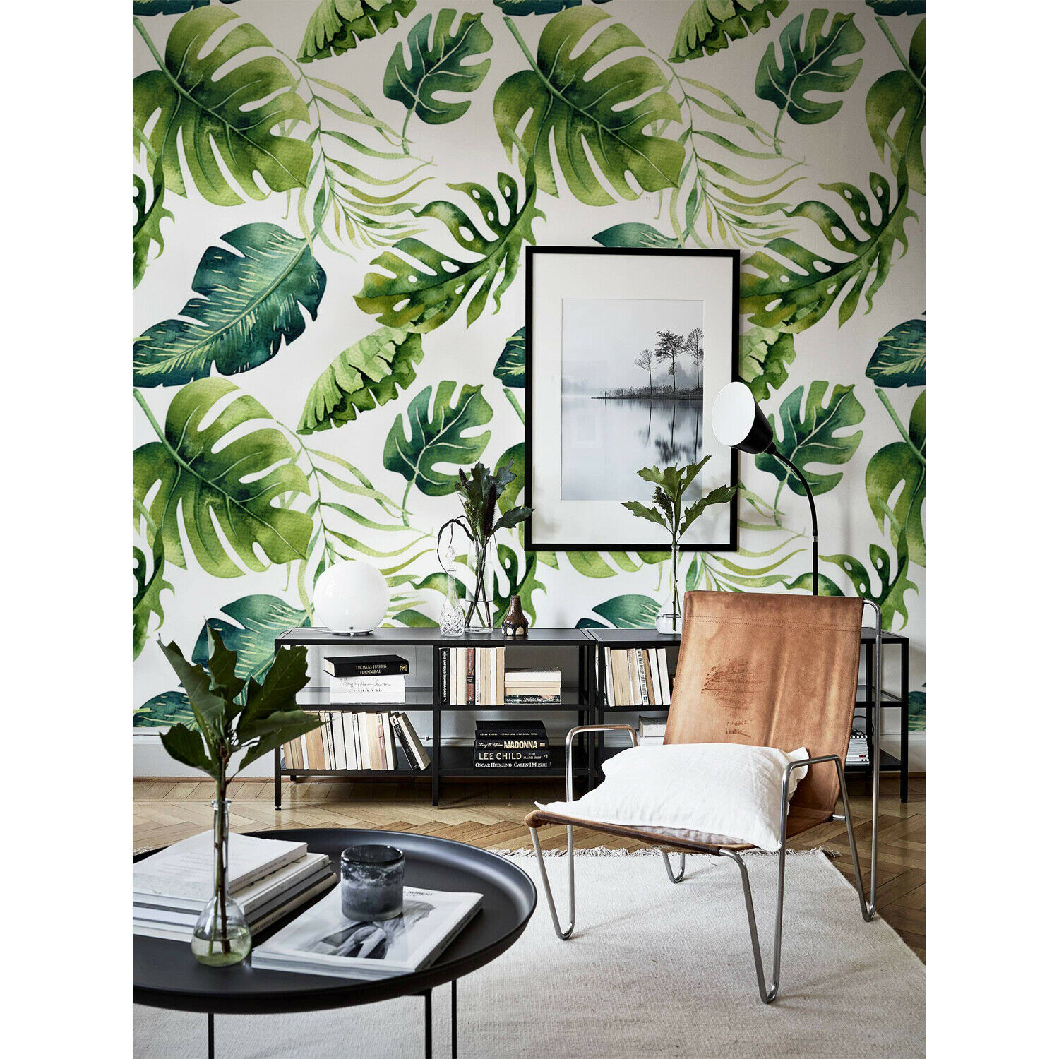 Removable wallpaper Exotic Grün Leaves Wall mural Leaves Self adhesive