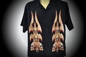 nouveau 666 crâne microfibre skuuls Libellule chemise SZ hachoir motard tatouage L 0v14qwv