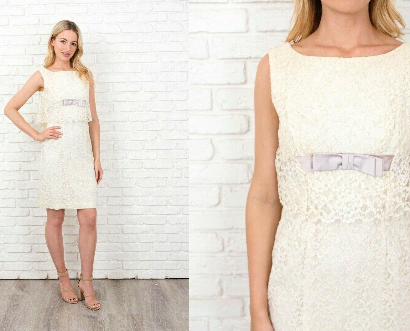 Vintage 50s 60s Ivory  Lace Dress Cocktail Party Floral Bow Small S