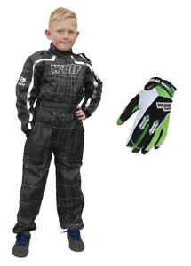 Kids Wulfsport Wulf MX Quad Motocross Overall And Gloves Orange Set #O6