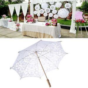Lace parasol umbrella embroidered for bridal wedding decoration ebay image is loading lace parasol umbrella embroidered for bridal wedding decoration junglespirit Images