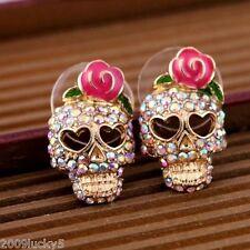 Vintage Gold Crystal Skull Studs Rose Flower Earrings Biker Punk Gothic Rock