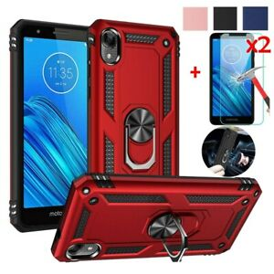 For-Motorola-Moto-E6-Case-Magnetic-Metal-Ring-Stand-Cover-HD-Tempered-Glass
