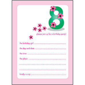 Image Is Loading Pack Of 10 Childrens Birthday Party Invitations 8
