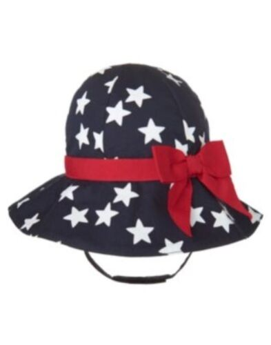 GYMBOREE ALL AMERICAN STYLE NAVY w// STARS N RED BOW SUN HAT 0 3 6 NWT-OT