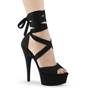 Pleaser-DELIGHT-679-Women-039-s-Black-Faux-Suede-Heels-Platform-Criss-Cross-Sandals