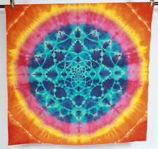 Vtg 60s Heavy Cotton Tie Dyed Rainbow Mandala Wall Hanging Tapestry Art 49 x 49