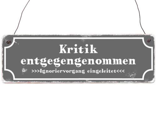 Holzschild Shabby Vintage Türschild KRITIK ENTGEGENGENOMMEN Spruchschild