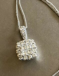 Ernest-Jones-9ct-White-Gold-Halo-Cluster-Diamond-Necklace-0-50ct-Square-Half-Ct