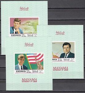 Manama Kennedy Brothers Imperf S / Blätter Mi Cat 203b Bl35 C-e