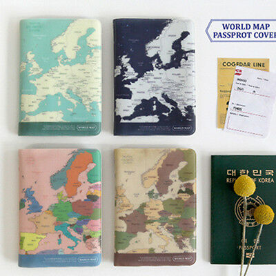 1x World Map Passport Holder Cover Travel Wallet Card Case Vintage Retro Style