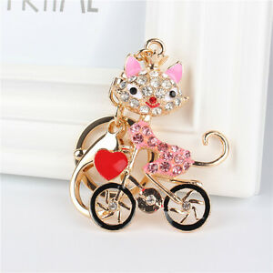Fox-Lady-Ride-Bike-Heart-Lovely-Charm-Pendant-Crystal-Purse-Bag-Key-Chain-Gift