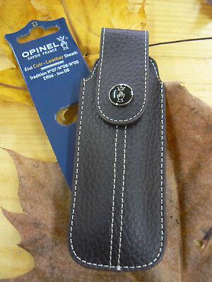 Originale Fodero Per Coltelli Opinel Op01547 Chic Brown Leather Sheath Custodia