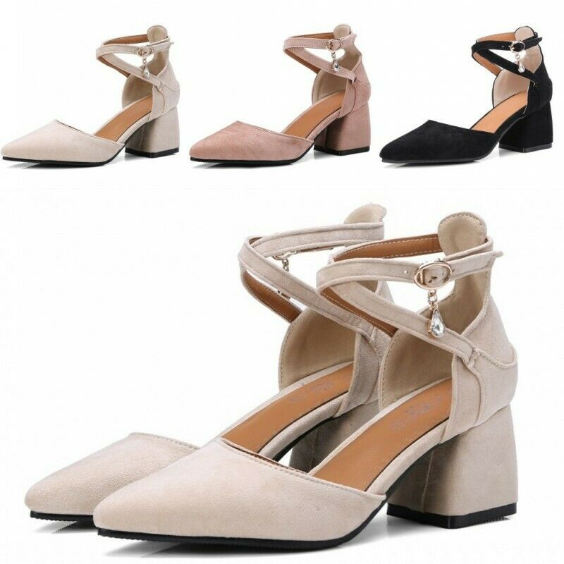 Womens Pointy toe Strap Cross Faux Suede Cut out Chunky Mid Heel 6.5cm Sandals