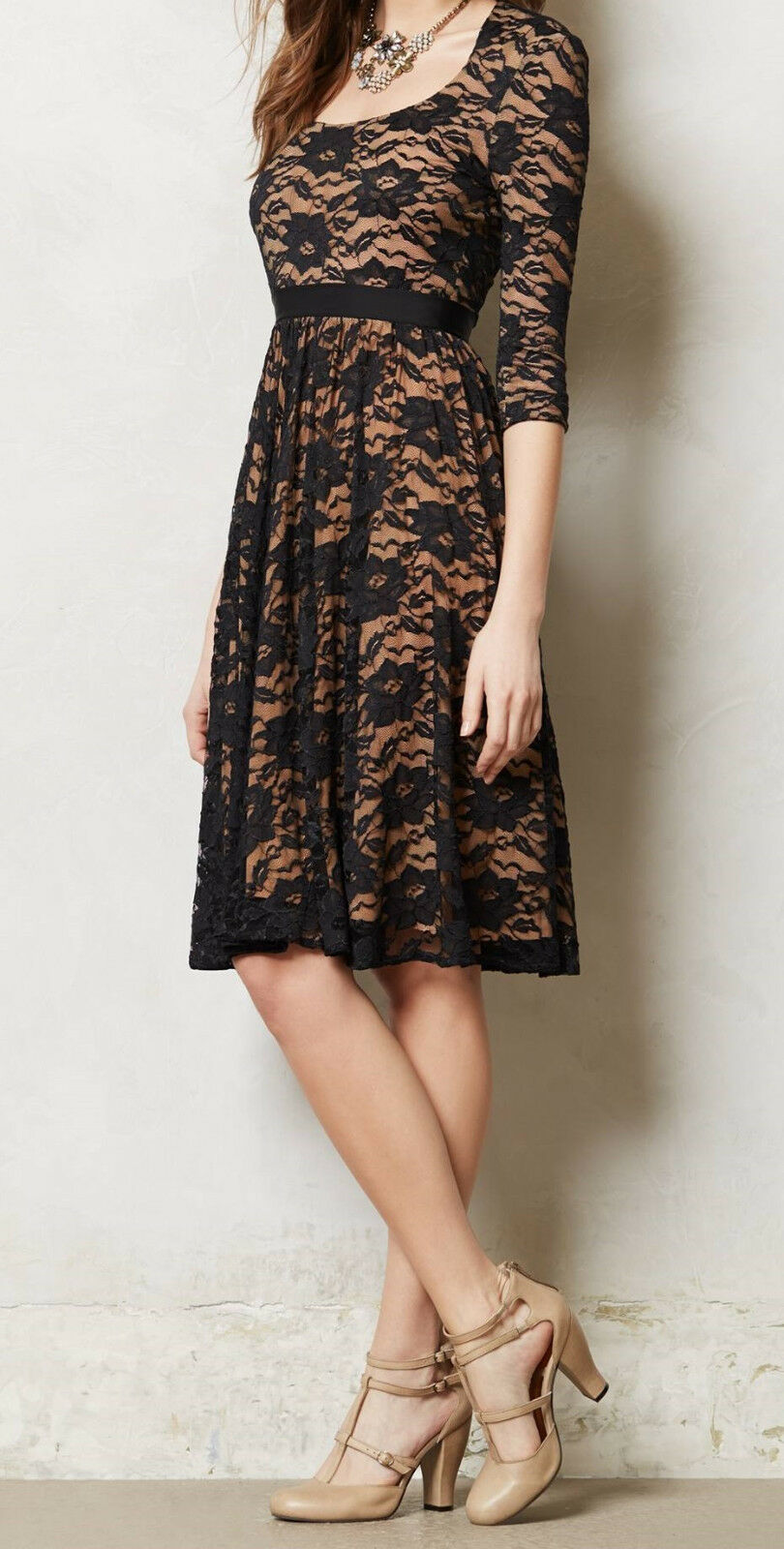 Marc Bouwer Made in Kind Lace Sava Dress Größe 8 schwarz NW ANTHROPOLOGIE Tag