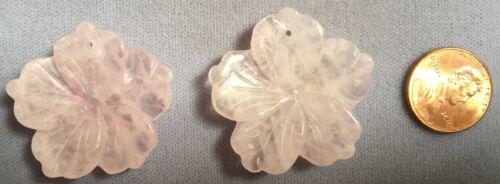 TWO 2 Beautiful! 35mm Carved Rosequartz Gemstone LOTUS FLOWER Pendants