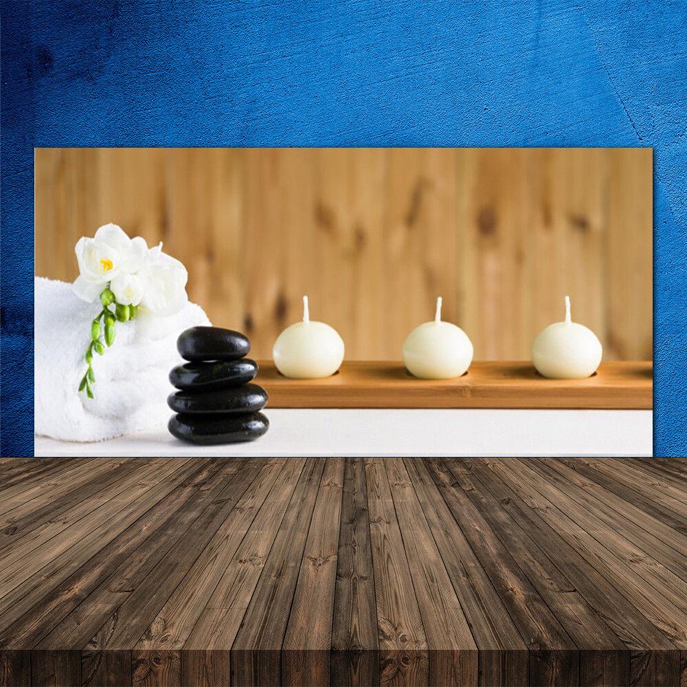 Crédence de cuisine en verre Panneau 120x60 Art Pierres Fleur Bougie