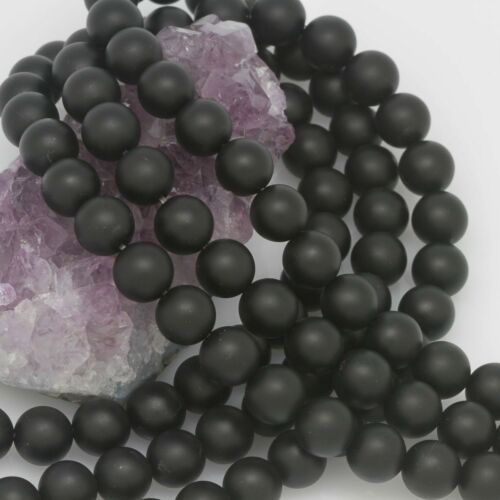 10mm Matte Black Onyx Round Loose Beads Wholesale Lots of 5 10 20 50 100 Str