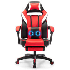Gaming Chair Racing Computer Leather Footrest Recliner Office Desk Swivel Seat