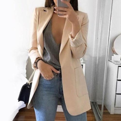 15 Colors Women/'s Slim Casual Blazer Jacket Top Outwear Career Long Coat S-5XL
