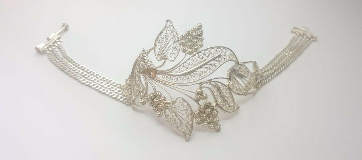 VINTAGE VERY NICE Bracelet Bracciale argentoo filigranglas foglio foglio foglio 0a6fd3