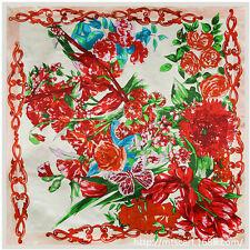 "Women's New Fashion Silk-Satin Printed Square Scarf Shawl Hijab 35""x35"""