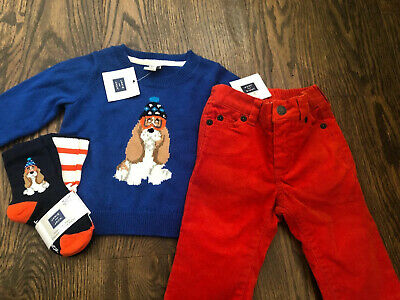 NWT Janie and Jack boy gray dog sweater socks 3-piece WINTER SET 12 18 24 2 2T
