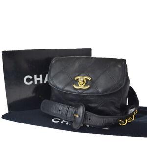Auth-CHANEL-CC-Quilted-Chain-Bum-Bag-Belt-Leather-65-26-Black-Vintage-57LA173