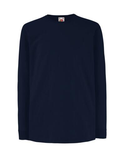 Fruit Of The Loom Children/'s Valueweight Long Sleeve T-Shirt Unisex Kids Tops