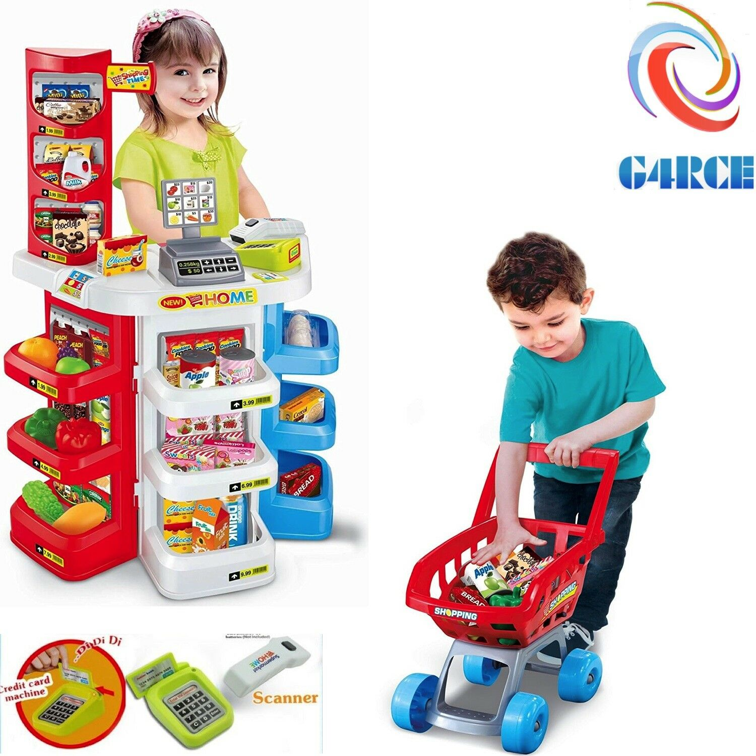 G4RCE Kids Toy Supermarket Till Cash Register Shop Trolley Accessories Xmas Gift