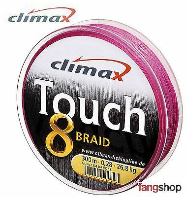 (ab 0,13€/m) Angelschnur ab 50m Climax Touch 8 Pink geflochtene Schnur 9222