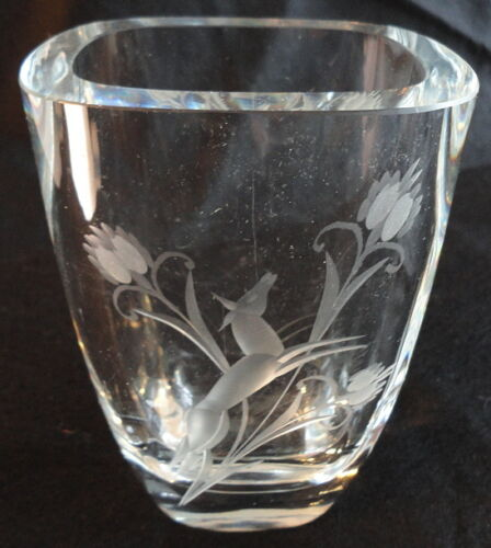 Etched Leaping Deer Swedish UnSigned Possible STROMBERG Scandinavian Glass Vase