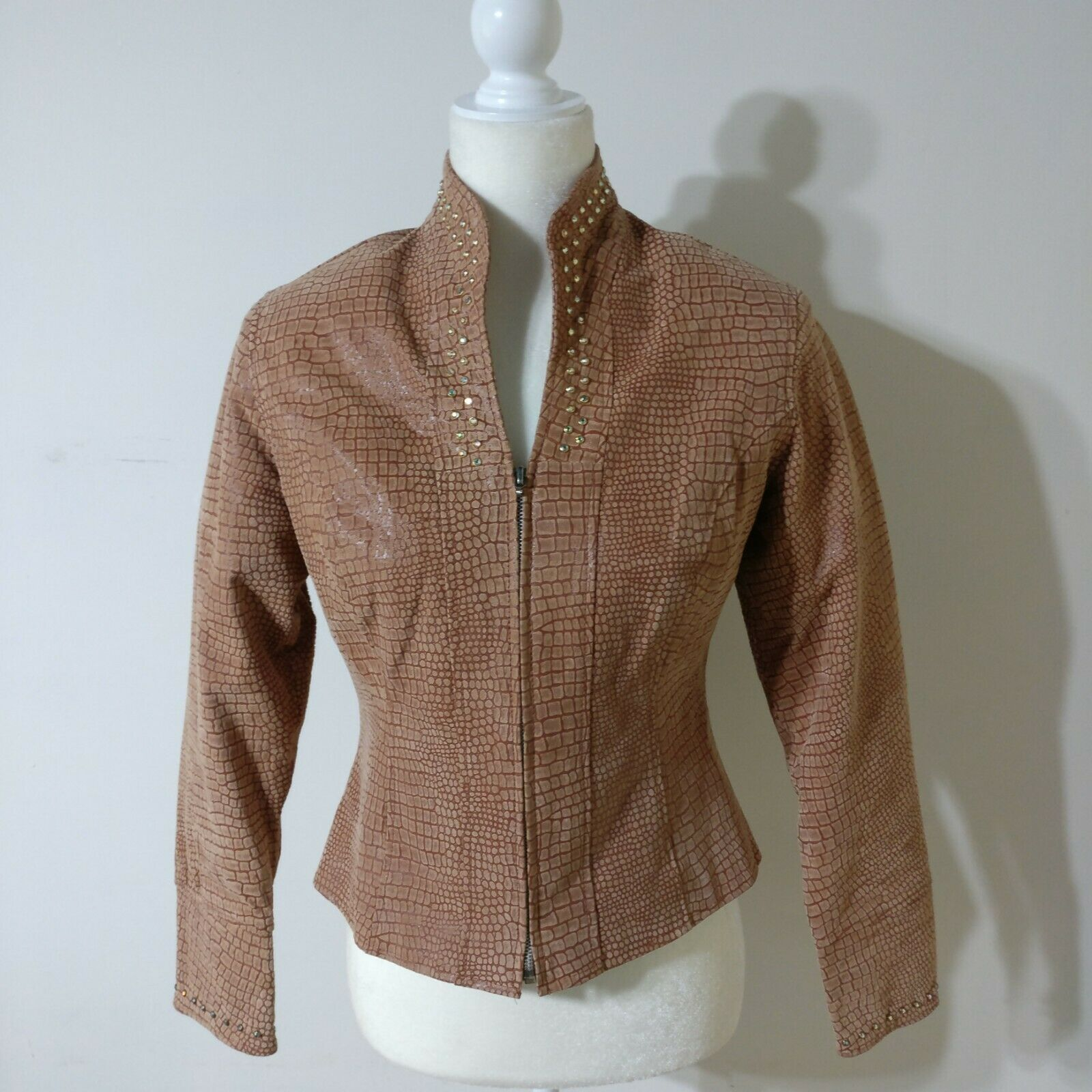 Western Pleasure equestre mostrare Jacket Tan Leather Crystal Embellished Smtutti