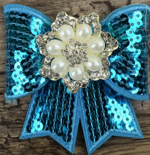 Sequins bow knot Hair Bows With Clip Hairbows//Hairpins 75 x 65mm  pearl diamonte
