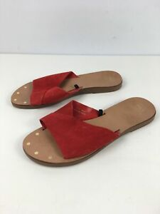 WOMENS-MARKS-amp-SPENCER-M-amp-S-RED-SUEDE-SLIP-ON-FLAT-SUMMER-SANDALS-SHOES-UK-7