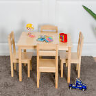 Kids 5 Piece Table Chair Set Pine Wood Children Play Room Furniture Natural New