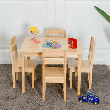 4bb85dd4d92 item 4 Kids 5 Piece Table Chair Set Pine Wood Children Play Room Furniture  Natural New -Kids 5 Piece Table Chair Set Pine Wood Children Play Room  Furniture ...