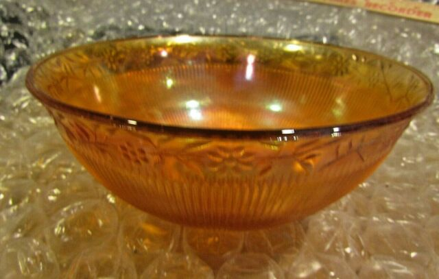 Prism And Daisy Band Ribbed Marigold Iridescent Carnival Glass Berry Bowl 7¼