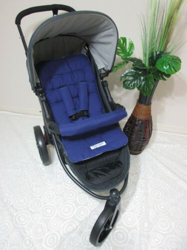Pram liner set,universal,100/% cotton fabric-Navy blue-Funky babyz