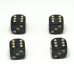 Set-of-Four-Black-Pearl-Dice-Dust-Caps-X4-80-039-s-Retro-Valve-Caps-BMX-VW