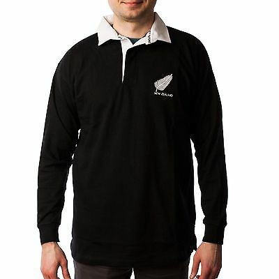 Great Gift: Mens New Zealand Black Rugby Long Sleeve Shirt Top - All Sizes